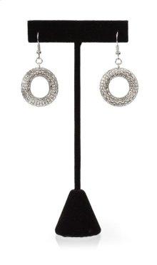 BTQ Mixed Metal Mesh Ring Earrings - Silver
