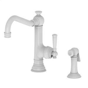 White Single Handle Kitchen Faucet with Side Spray