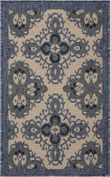 Caribbean Crb10 Ivory Blue Rectangle Rug 1'9'' X 2'9''