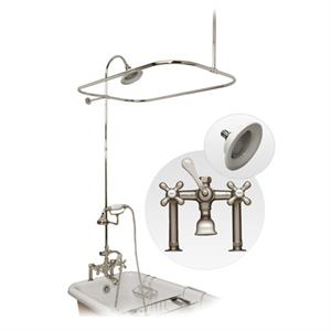 Beau Maidstone Clawfoot Tub Deck Mount Shower Enclosure With Faucet And  Handshower Kit, Chrome, Sunflower Hidden