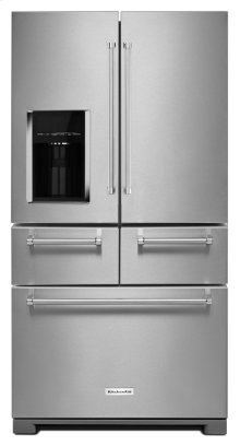 SAVE! - DEEP DISCOUNT ON THIS KITCHENAID 25.8 Cu. Ft. 36-Inch Multi-Door Freestanding Refrigerator - Stainless Steel - MODEL KRMF606ESS *(USED AS A LOANER REFRIGERATOR)