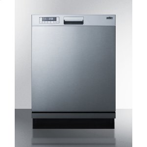 "Summit24"" Wide Energy Star Certified Built-in Dishwasher Made In Europe A With Stainless Steel Door and Front Controls"