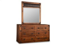 Saratoga Landscape Mirror with Top Grain Leather Panel