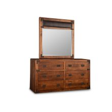 Saratoga Landscape Mirror with Leather Panel