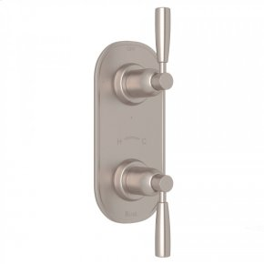 "Satin Nickel Perrin & Rowe Holborn 1/2"" Thermostatic/Diverter Control Trim with Holborn Metal Lever"