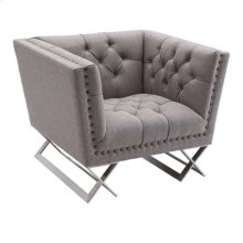 Armen Living Odyssey Sofa Chair in Brushed Steel finish with Gray Tweed upholstery and Black Nail heads