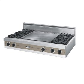 "Stone Gray 48"" Open Burner Rangetop - VGRT (48"" wide, four burners 24"" wide griddle/simmer plate)"