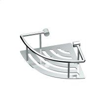 Elegant Corner Shelf with Rails in Chrome