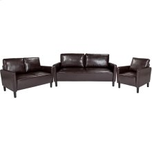 Washington Park Upholstered Living Room Set in Brown Leather