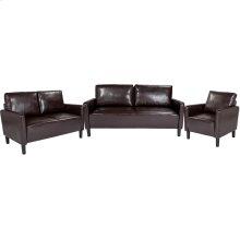 Washington Park Upholstered Living Room Set in Brown Leather