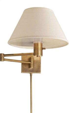 Visual Comfort 92000DHAB-L Studio Classic 25 inch 75 watt Hand-Rubbed Antique Brass Swing-Arm Wall Light in Linen