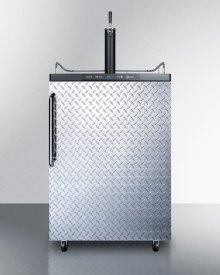 Freestanding Residential Beer Dispenser, Auto Defrost With Digital Thermostat, Diamond Plate Door, Towel Bar Handle and Black Cabinet