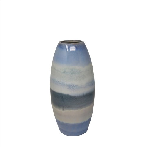 "Ceramic 12"" Cone Vase, Blue Multi"