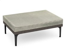"42"" Dark Grey Rattan Rectangular Ottoman Sectional, Upholstered in Standard Outdoor Fabric"