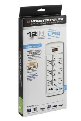 Core Power 1200 USB Wall Outlet Surge Protector - White
