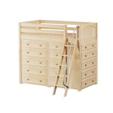 High Loft w/ Angle Ladder, 2 x5 Drawer Dressers & Narrow 5 Drawer Dresser : Twin : Natural : Panel