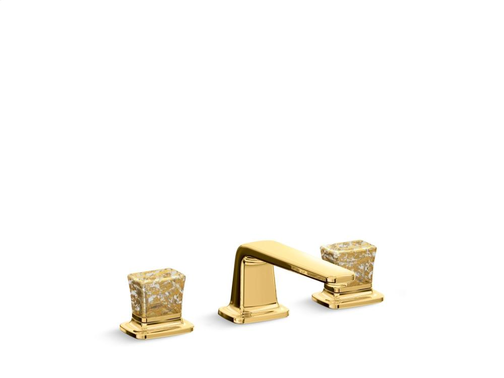 gold flake toilet paper. sink faucet, low spout, gold flake crystal knob handles - 24k toilet paper