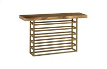 Ladder Console Table Suar Wood, Natural/Brass Finish