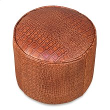 Round Footrest, Embossed Croc Tan Lthr