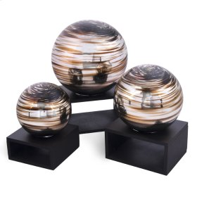 Brown with silver Swirls Balls (Set of 3)