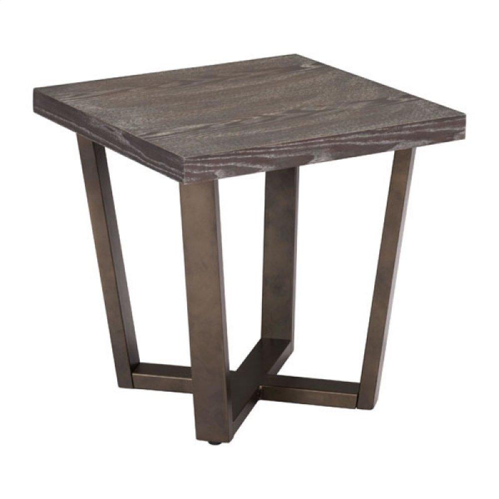 Brooklyn Side Table Gray Oak & A.brass