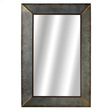 Galvanized Rectangle Wall Mirror with Gold Accent.