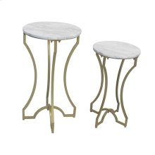 S/2 Gold Accent Tables, White Marble Top