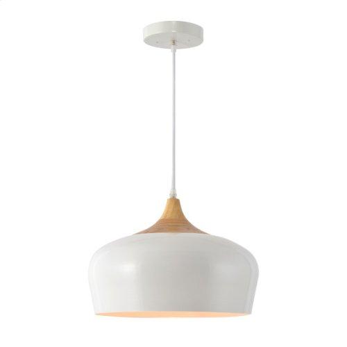 1 Light Pendant in White Finish