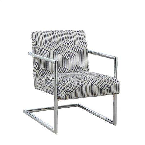 Modern Blue-tone and Chrome Accent Chair
