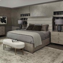 King-Sized Linea Upholstered Channel Bed in Cerused Greige (384)