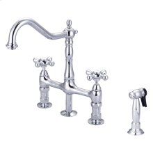 Emral Kitchen Bridge Faucet - Metal Porcelain Cross Handles - Polished Chrome