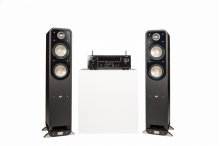 Signature Series S55 Towers and a Denon AVR-S730H in Black