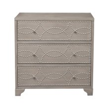 Three Drawer Nail Head Acnt Chest