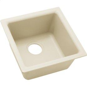 """Elkay Quartz Luxe 15-3/4"""" x 15-3/4"""" x 7-11/16"""", Single Bowl Dual Mount Bar Sink, Parchment"""