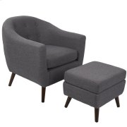 Rockwell Chair + Ottoman Set - Dark Brown Wood, Charcoal Grey Fabric Product Image
