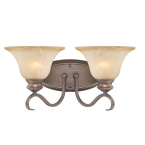 Lancaster 2 Light Bath Vanity in Rubbed Bronze with Antique Marbled Glass