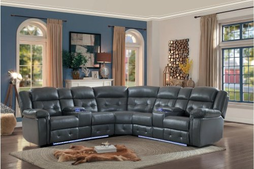 POWER Left Side Reclining Love Seat with Center Console, Power Headrest and LED