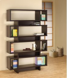 - Seven tier bookcase finished in cappuccino- Constructed with MDF, particle board, and engineered veneer- Also available in white (#800308)