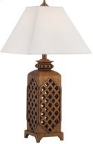Table Lamp Dark Bronze/fabric Shd, E27 Cfl 23 Product Image