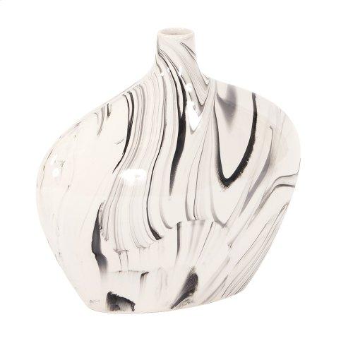 Porcelain Oblong White and Black Swirl Vase, Small