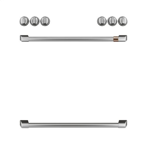 Café Front Control Gas Knobs and Handles - Brushed Stainless
