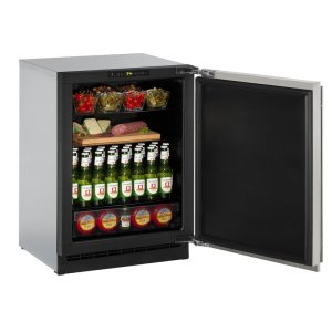 """U-Line2000 Series 24"""" Solid Door Refrigerator With Stainless Solid Finish and Field Reversible Door Swing (115 Volts / 60 Hz)"""
