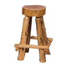 "Slab Counter Stool - 24"" high - Natural Cedar - Wood Seat"