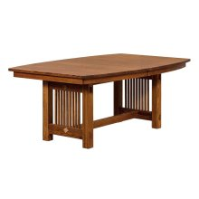 "Bungalow Trestle Table w/2-12"" leaves (1-aproned, 1-non)"