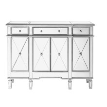 3 Drawer 4 Door Cabinet 48 in. x 14 in. x 36 in. Silver Clear