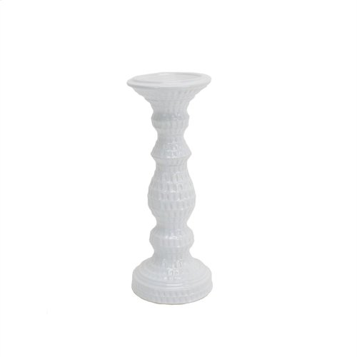 """Dimpled White Candle Holder 12.25"""""""