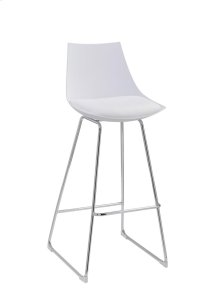 """Neo - 30"""" Barstool White Pu Seat High Back-chrome Base (Set of 2)"""