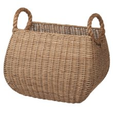 Woven Rattan Basket with Rope Handles.