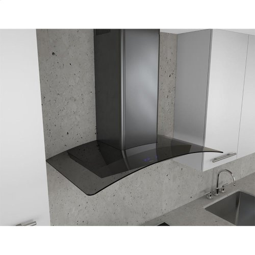 Essentials Series 36-In. Ravenna Wall Mount Range Hood in Black Stainless with Grey Glass