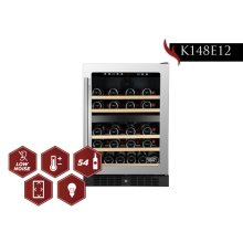 KUCHT 54-Bottle Dual Zone Wine Cooler Built-in with Compressor in Stainless Steel